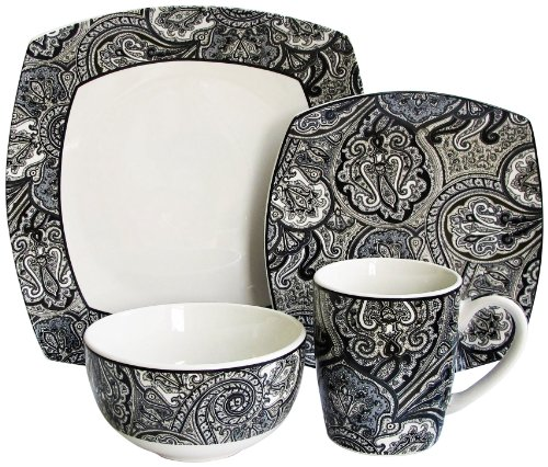 Waverly 16-Piece Paddock Shawl Dinnerware Set, Black