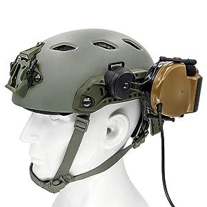 TAC-SKY ARC Rail Adapter Helmet Headset Left & Right Side Attachments for Comta Headphones (black) (Color: Black)