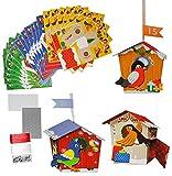 XL BASTELSET Weihnachtskalender - 24 Vogelhäuser mit Vögeln zum Aufhängen / Hinstellen + Befüllen - selber Basteln - für Erwachsene / Kinder / Mädchen Jungen - Adventskalender Weihnachten - SelbstBefüllen - Aus Papier Kleben / machen gestalten