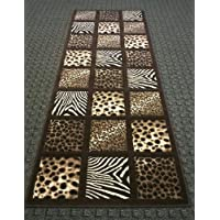 Animal Prints Runner Rug 32 In. X 7 Ft. Sculpture 251 Chocolate