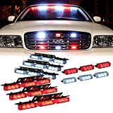 DT MOTO™ Red White 54x LED Emergency Service Vehicle Dash Deck Grill Warning Light - 1 set