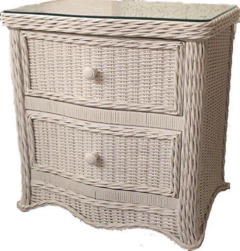 Florentine Whitewash 2 Drawer Wicker Nightstand with Glass Top