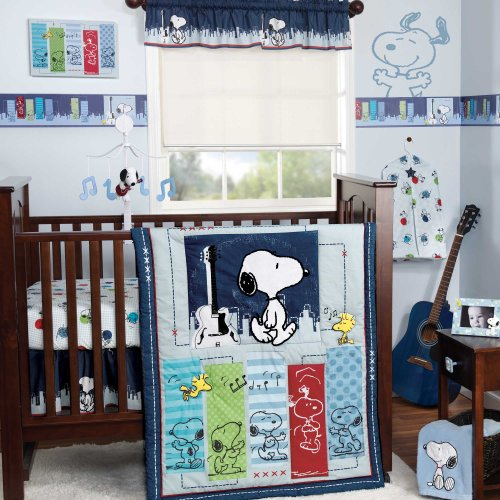 Bedtime Originals Hip Hop Snoopy 3 Piece Crib Bedding Set, Blue - 1