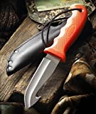 """CUTCO Model 5717 Orange Gut Hook Hunting Knife .......High Carbon, Stainless 4 3/8"""" Double-D® Serated Edge Blade............5 7/8"""" Durable Kraton® handle........Leather sheath and lanyard included."""
