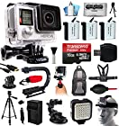 GoPro HERO4 Hero 4 Black Edition 4K Action Camera Camcorder with 16GB MicroSD, 3x Battery, Charger, Backpack, Chest Harness, Action Hand Handle, Tripod, Car Mount, LED Light, Head Strap CHDHX-401