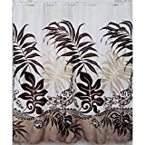 Hawaii Theme Shower Curtain Maroon Brown Color Turtle  and Monstera Leaf