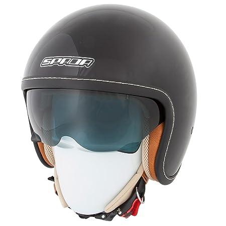 2015 nouveau casque de moto Spada raser noir brillant