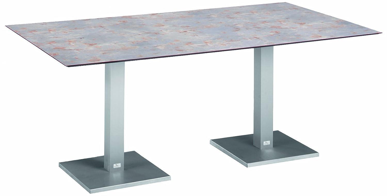 BEST 43591859 Tisch Turin rechteckig 180 x 100 cm, Edelstahl-Look / antik