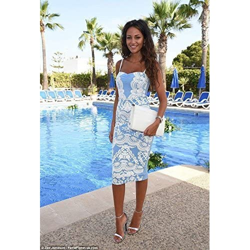 WOMENS CELEBRITY MICHELLE KEEGAN FLORAL LADIES PRINT BODYCON MIDI STRAP DRESS