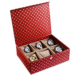 Ecoleatherette Handcrafted Multicolour Watch Case/Box (Compartment-6)