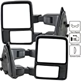 Towing Mirror Fits 1999-2015 Ford F250-550 | Tow Towing Mirrors Manual Pair Functional Signal Light by IKON MOTORSPORTS | 2000 2001 2002 2003 2004 2005 2006 2007 2008 2009 2010 2011 2012 2013 2014 (Color: Black Housing)