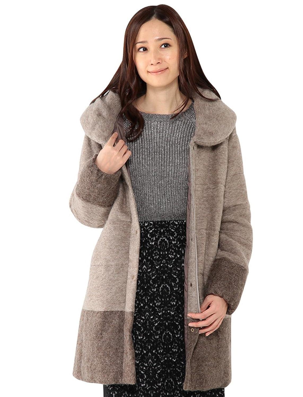 Amazon.co.jp: (プチオンフルール)Petit Honfleur エアリーモヘヤ切替ダウンコート: 服&ファッション小物通販