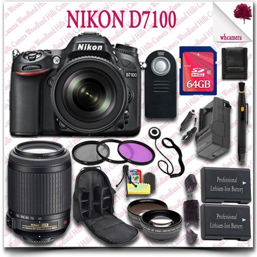 Nikon D7100 Digital Slr Camera With 18-105Mm Af-S Dx Vr Ed Lens (Black) + Nikon 55-200Mm Af-S Dx Vr Lens + 64Gb Sdhc Class 10 Card + Wide Angle Lens / Telephoto Lens + 3Pc Filter Kit + Slr Camera Backpack + Wireless Remote 21Pc Nikon Saver Bundle