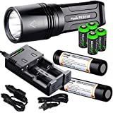 FENIX TK35 Ultimate Edition (2015) 2000 Lumen LED Tactical Flashlight with 2 X Fenix ARB-L2M 18650 Li-ion rechargeable batteries, 4 X EdisonBright CR123A Lithium batteries, smart in-car Charger adapter, Holster & Lanyard complete bundle