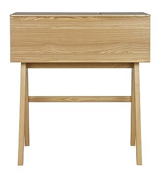 Bureau compact en placage frêne, finition cendre - Dim : H 96 x L 107 x P 44cm - PEGANE -