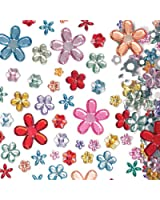 Lot de 180 Bijoux Acryliques Autocollants en forme de Fleur de différentes couleurs - Idéal pour les créations de Fête des Mères et de la St Valentin