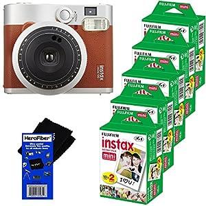 Fujifilm INSTAX Mini 90 Neo Classic Instant Film Camera (Brown) + Fujifilm Instax Mini Instant Film (100 sheets) + HeroFiber Ultra Gentle Cleaning Cloth