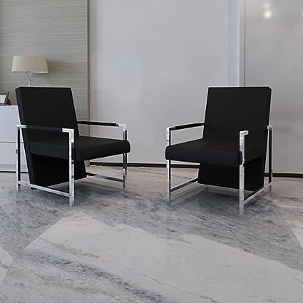 vidaXL Cubo poltrona nera 2 pezzi con piedi cromati di alta qualità
