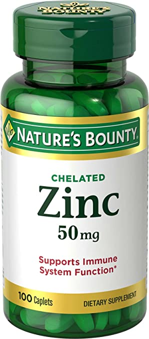 Nature's Bounty Zinc Chelated 50 mg, 100 Caplets