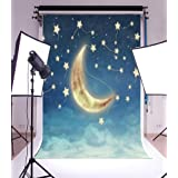 3x5ft Laeacco Vinyl Photography Background Night Sky with Fantastic Moon Stars Fairytale Dreamy Baby Dream Illusion Scene Children Baby Birthday Girls