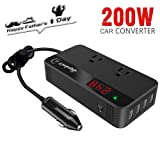 200W Car Power Inverter DC 12V to AC 110V Converter with Smart 4 USB Ports Adapter 2 AC Outlets Sockets Charger (Black) (Color: 200W Power Inverter)