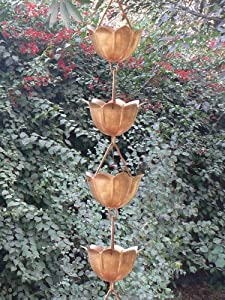 Monarchs Pure Copper Lotus Rain Chain 8-1/2 Feet Length from Monarch Int'l Inc.
