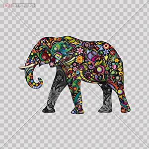 Decal stickers colorful elephant car window wall art decor doors helmet truck Colorful elephant home decor