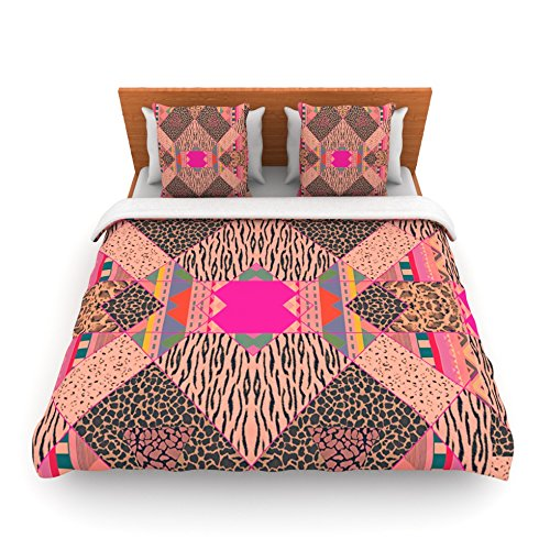"Kess Inhouse Vasare Nar ""New Wave Zebra"" Pattern Pink King Fleece Duvet Cover, 104 By 88-Inch front-938019"