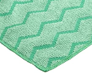 "Rubbermaid Commercial FGQ62006GR00 Hygen Microfiber General Purpose Cloth, 16"" Length x 16"" Width, Green"
