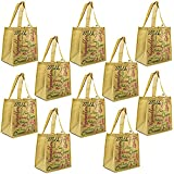 ReBagMe (TM) Set of 10 Large Reusable Grocery Bag Totes with Extra Reinforced Handles Sewn Down to the Bottom of the Bag with Loop for Grocery Stores - Includes Insert on Bottom of Bag for Extra Support (10, Brown)