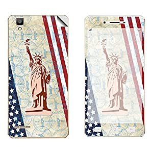 Skintice Designer Vinyl Skin Sticker for Oppo F1, Design - Liberty statue