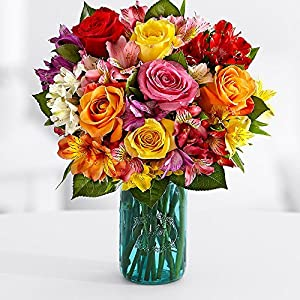 Birthday Smiles Bouquet (Peruvian Lilies, Roses) - Flowers