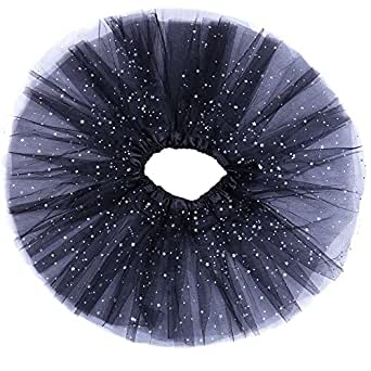 "Anleolife 12"" Girls Fluffy Tutu Skirt/Princess Ballet Dance Stars Sequins Tutu"