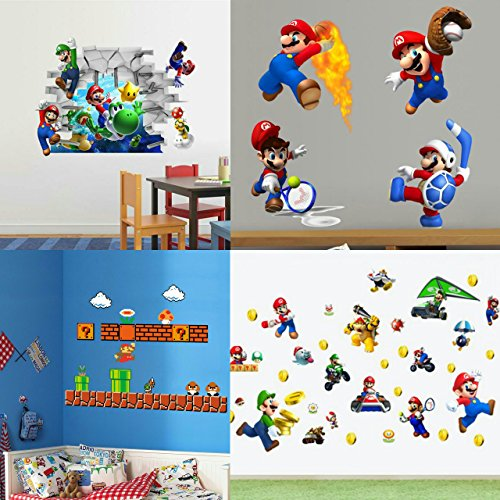 Super Mario Wall Decal Cling 4 Sheet Set Nintendo Style Luigi Yoshi Toadstool