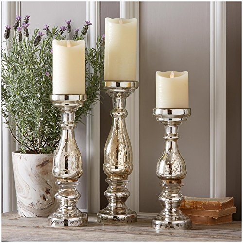 Two's Company Pentimento Silver Mercury Glass Pillar Candleholders Set of 3
