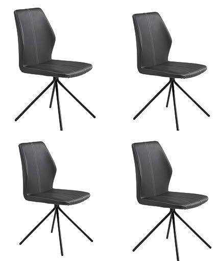 Conjunto de 4 sillas de comedor retro en fuerte piel sintetica en color negro con pespuntes blancos PHILIP 2