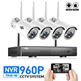 Hiseeu 4-Channel HD 1080P Wireless Network/IP Security Camera System(IP Wireless WIFI NVR Kits),4Pcs 960P Megapixel Wireless Indoor/Outdoor IR Bullet IP Cameras,P2P,App,NO Hard Drive, Night Vision