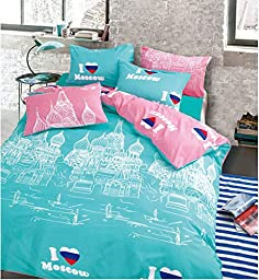 Mumgo Queen Size Famous World City Landmark Pattern for Adult Duvet Cover Set,Cotton Full Size Bedding Set Boys Girls WITHOUT Comforter (Moscow-Moscow Kremlin)