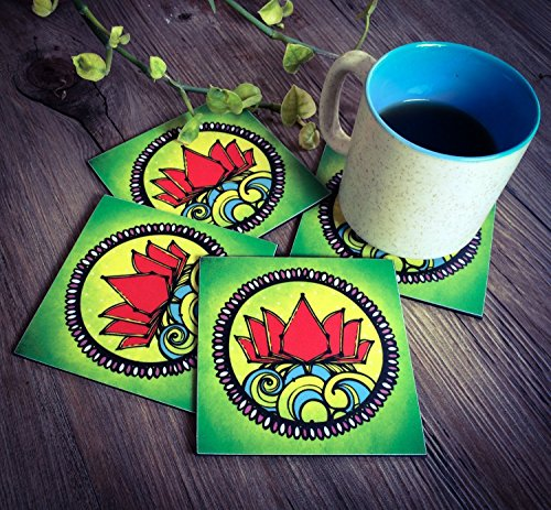 Set Of 4 Acrylic Drink Coasters With A Square Holder Graphic Lotus Designed, Bar Dining Accessory