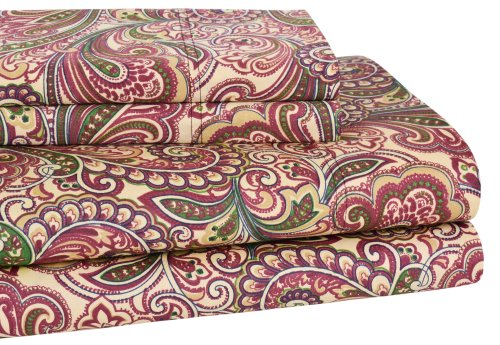 Elite Home 300 Thread Count Lindsey Paisley 100-Percent Cotton Sateen 4-Piece Sheet Set, King, Burgundy front-569450