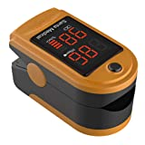 Santamedical SM-150 Fingertip Pulse Oximeter Oximetry Blood Oxygen Saturation Monitor with Carrying Case, Batteries and Lanyard - Orange (Color: Orange)
