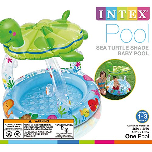 Intex sea turtle shade inflatable baby pool 40 x 42 for Baby garden pool