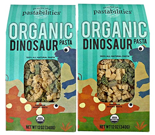 Kids Organic Dinosaur Pasta - Bite Size Dinosaur Noodle Shapes - non GMO - 2 Packages, 12 Ounces Each (Organic Pasta For Kids compare prices)