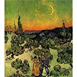 Art Panel - Landscape With Couple Walking And Crescent Moon