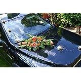 """Autoschmuck Autodeko Hochzeit 10 Rosen Dekor Verschieden Farben Komplett Rattan (Weiss, Blumenstrauss - orange)von """"APM"""""""