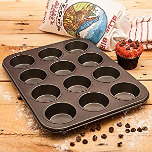 Non Stick 12 Cup Muffin Pan - Bakeware - Cupcake Tray - Carbon Steel