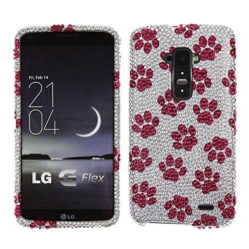 Fincibo (TM) LG G Flex LS995 D958 D950 Bling Crystal Full Rhinestones Diamond Case Protector - Hot Pink Dog Paw