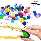 TOPRADE Multiple Color Felt Ball/Fuzzy Ball Cotton Pellets Slingshot Ammo Safe for Children (Color: colorful 40)