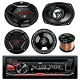 """JVC KD-R670 CD/MP3/WMA Receiver Bundle Combo With 2x JVC CS-DR6930 6x9"""" 1000w 3-Way Vehicle Stereo Coaxial Speakers + 2x CS-DR620 6.5"""" 300W 2-Way Audio Speakers + Enrock 50 Foot 16 Guage Speaker Wire"""