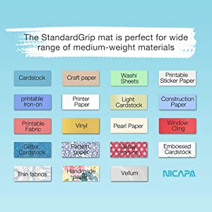 Nicapa Cutting Mat for Silhouette Cameo 3/2/1 (Standardgrip,12x12 inch,10pack) Adhesive&Sticky Non-Slip Flexible Gridded Cut Mats Replacement Matts Accessories Set Vinyl Craft Sewing Cloth (Color: transparent for Cameo 12*12 10pack, Tamaño: StandardGrip)